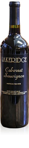 Silhouette of a bottle of Lakeridge Winery Cabernet Sauvignon red wine.