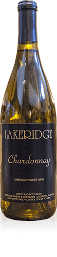 Silhouette of a bottle of Lakeridge Winery Chardonnay white wine.