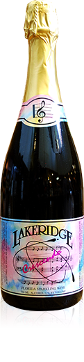 Silhouette of a bottle of Lakeridge Winery Crescendo sparkling wine.