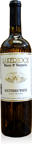 Silhouette of a bottle of Lakeridge Winery Southern White wine.